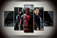 Framed Canvas Wall Art B-man vs S-man and Deadpool  Picture Home Decor poster