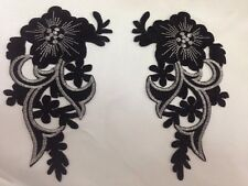 Black Floral  Motif - iron/sew on embroidered flower embellishment applique