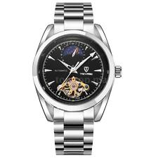 Unisex Automatic Watch Moonphase Mechanical Stainless Steel Leather Tevise C0I6