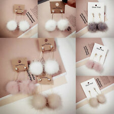Women Rhinestone Long Dangle White Fur Drop round Ball Earrings Ear Jewelry