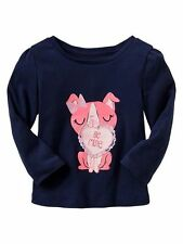 Baby Gap Valentine's Day Love embellished graphic T dog Navy Pink size toddler