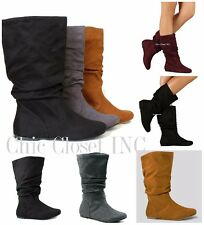 Womens Ankle Mid Calf Faux Suede Flat Heels Slouchy Warm Winter Fashion Boots