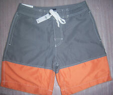 GAP SWIM SWIMWEAR  SWIMSUIT TRUNKS SHORTS LIGHT GRAY ORANGE MEN BOARD SHORTS NEW