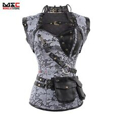 Gothic Steel Boned Lace Up Overbust Corset Cincher Waist Training Body Bustier