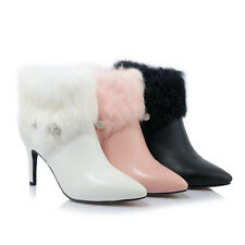 UK Sizes Leather Slim High Heel Ankle Boots Pump Fur Snow Boot Heels Zip s1028