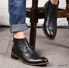 Mens Ankle Boots Dress lace  Leather shoes Casual wing tip oxford Brogue New hOT
