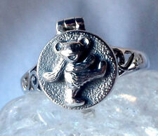 Sterling Silver Dancing Dancing Bear Stash Locket Ring Grateful Dead Furthur