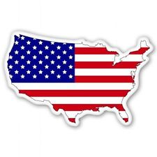 American Flag Map USA Patriotic - Vinyl Sticker Decal - SELECT SIZE