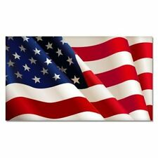American Flag Waving Bright Patriotic - Vinyl Sticker Decal - SELECT SIZE