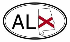 Alabama State Flag Oval - Vinyl Sticker Decal - SELECT SIZE