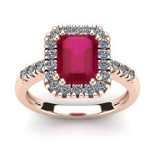 14K ROSE GOLD 2 3/4 CARAT EMERALD CUT GENUINE RUBY AND HALO DIAMOND RING
