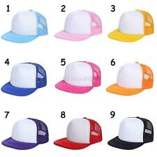 Unisex Bbay Kid Girl Boy Plain Snapback Hat Hip-Hop adjustable bboy Baseball Cap