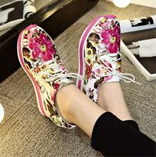 cHIC Womens Wedge Sneakers Shoes Flower Genuine Leather Lace Up Ankle Boots New