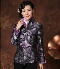 Chinese Women's silk jacket coat Cheongsam purple Sz: M L XL 2XL 3XL 4XL