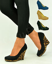 New Womens Wedge Heel Pumps Ladies Pull On Closed Toe Platform Shoes Size Uk 3-8