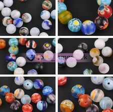 Wholesale 6mm 8mm Round Millefiori Lampwork Glass Loose Beads Jewelry Findings