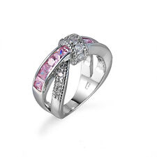 Pink Sapphire Jewelry Band Women's 10kt White Gold Filled Wedding Ring Size 6-10