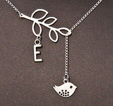 silver A-Z Name necklace, bird branch letter customer women girl necklace gift