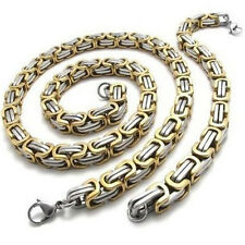 8MM Mens Byzantine Set Stainless Steel Chunky Chain Necklace and Bracelet