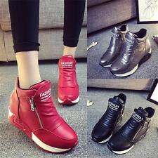 New Womens Trainers Sport Shoes Wedge Sneakers Hi Top Casual Ankle Boots Size YT