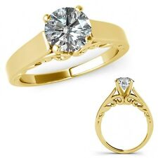 1 Ct G-H Diamond Women Solitaire Vintage Wedding Ring Bnad Set 14K Yellow Gold