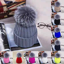 Women's Warm Winter Wool Knit Beanie Raccoon Fur Pom Bobble Hat Crochet Ski Cap