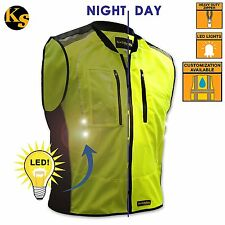 HI VIS MOTORCYCLE VEST RIDING BIKER VEST LED LIGHTS NEON HEAVY DUTY