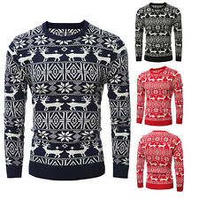 Men's Fashion Casual Pullover Sweater Slim Knit Jacket O-Neck Deer Sweaters