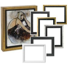 """3/4"""" 7/8"""" 1.5"""" Deep FLOATER PICTURE PAINTING GOLD SILVER PLEIN AIR WOOD FRAME +"""