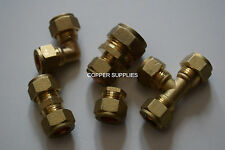 22mm Brass Compression Fittings-Straight Elbow ,tee,plumbing,copper pipe,job lot
