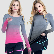 Multi-color Women Sports Workout Long Sleeve T-Shirts fitness yoga gym workout