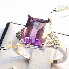 Real  9K White Gold WG 3.28ct Emerald Cut Natural Purple Amethyst Diamond Ring