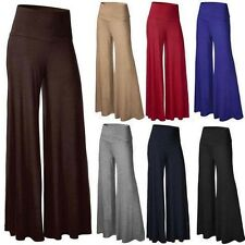 Women's Foldover Stretch OL High Waist Wide Leg Palazzo Flared Casual Long Pants