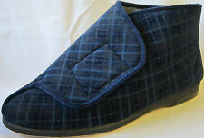 "MENS BALMORAL NAVY BLUE TOUCH FASTENER SLIPPERS ""THOMAS"""
