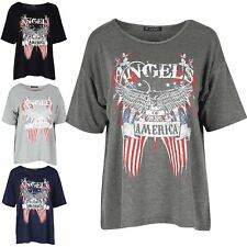 Womens Angels of America Bald Eagle Printed Ladies Oversized Baggy T Shirt Top