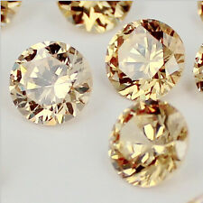 100P champagne crystal Brilliant cuts Round cubic zirconia beads stones DIY