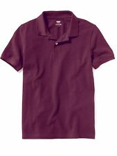 OLD NAVY Boys  Polo Shirt Size S L XL Short Sleeve Pique Cotton Uniform Wine NEW
