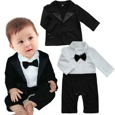 2PCS Infant Baby Boy Gentleman Wedding Formal Tuxedo Suit Coat Romper Bodysuit