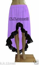 Belly Dancing Flamingo Asymmetrical Skirt With Black Flare Chiffon Skirt S~3XL
