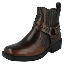 """MENS SYNTHETIC MAVERICK BROWN SLIP ON BOOTS """"A3027"""""""