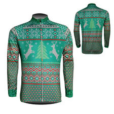 New Mens Cycling Long Sleeve Jerseys Polyester Bicycle Clothing Christmas Trees