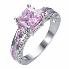Princess Cut Pink Sapphire Band Women's Gift 10Kt White Gold Filled Wedding Ring