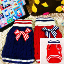 Pet Dog Puppy Winter Warm Bow Knit Sweater Top Clothes Jumper Coat Apparel