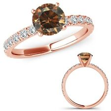 1 Ct Champagne Diamond Solitaire Eternity Engagement Promise Ring 14K Rose Gold