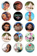 Moana inspired themed bottle cap IMAGES 1 inch - 1 inch round circles