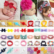 Cute Baby Girl Flower Bow Headband Elastic Hair Band Kid Headwear Wraps 10 Types