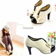 OK  Bow Pump Ankle Boots Women Beige Ladies High Heel Shoes Style Tie Platform