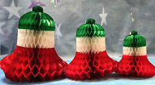 PACKS OF 3,6,12 CHRISTMAS HONEYCOMB TISSUE PAPER BELLS 9/12/15inches DIAMETER