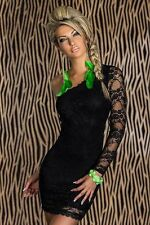 Sexy Black Lace Clubwear One Shoulder Cocktail Disco Party Mini Dress M L XL XXL