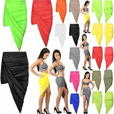 Womens Ladies Cut Out Ruched Jersey Side Split Drape Long Midi Mini Skirt Maxi